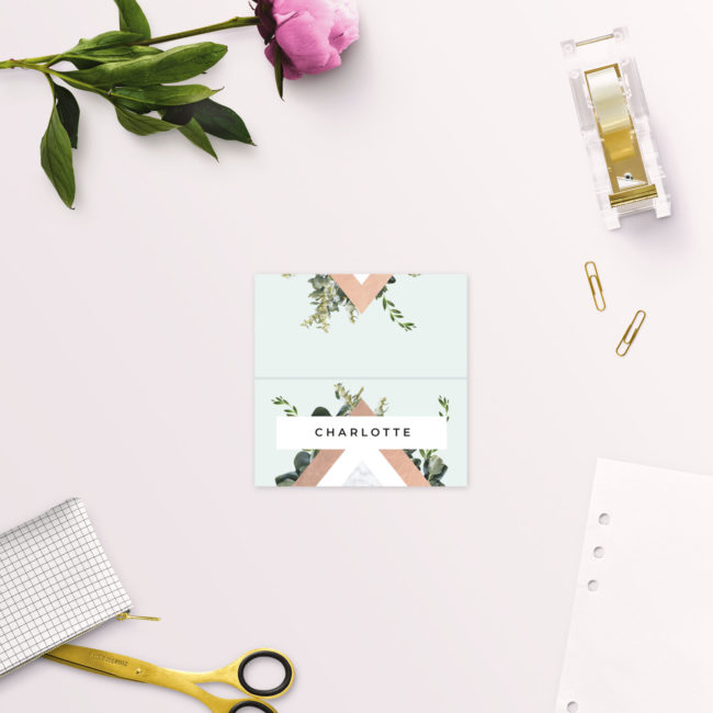 Modern Botanical Rose Gold Foil Wedding Name Place Cards