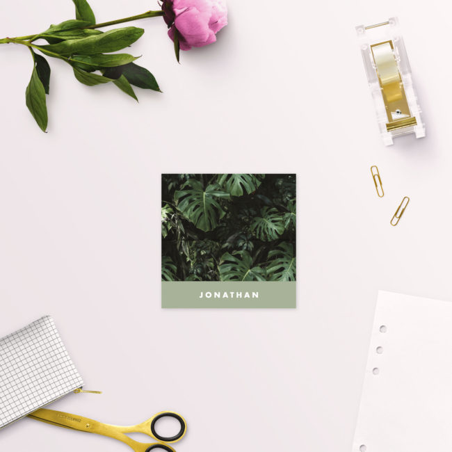 Modern Monstera Tropical Olive Green Wedding Name Place Cards Folded