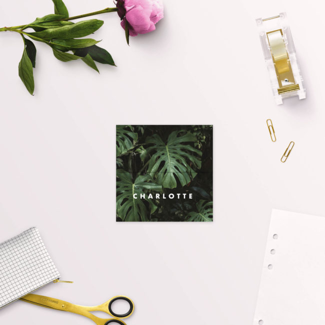 Modern Tropical Jungle Monstera Leaves Wedding Name Place Cards Folded