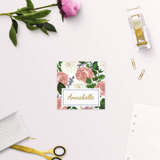Romantic Blush Roses Elegant Wedding Name Place Cards Folded