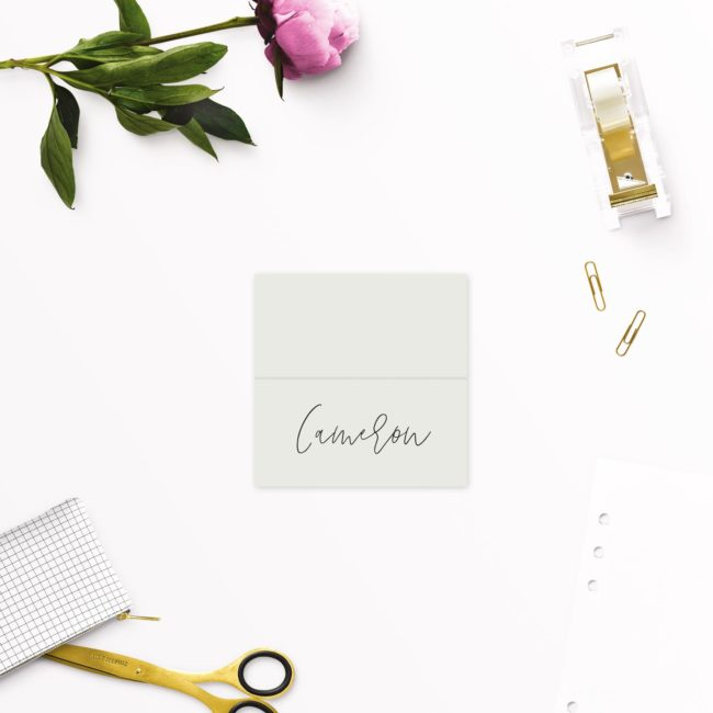 Pale Olive Green Minimal Wedding Name Place Cards
