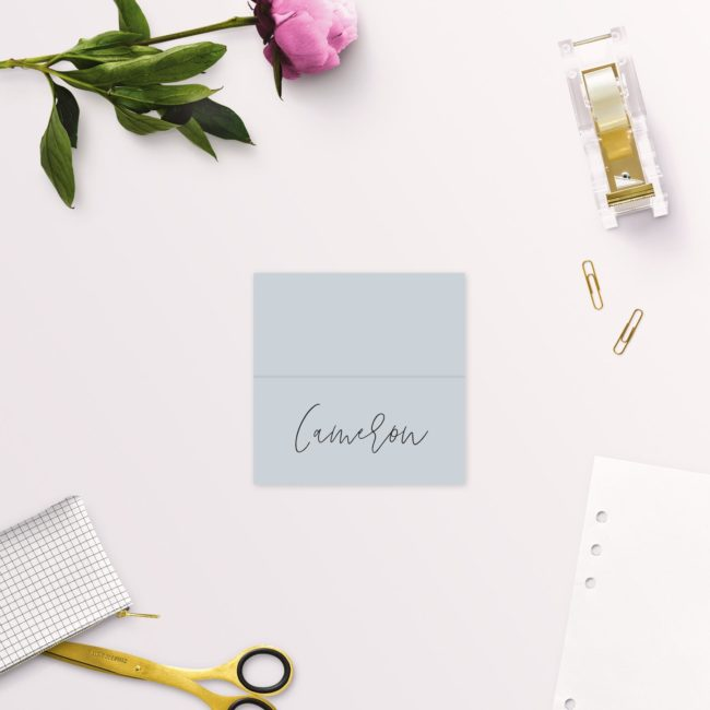 Dusty Blue Minimal Wedding Name Place Cards