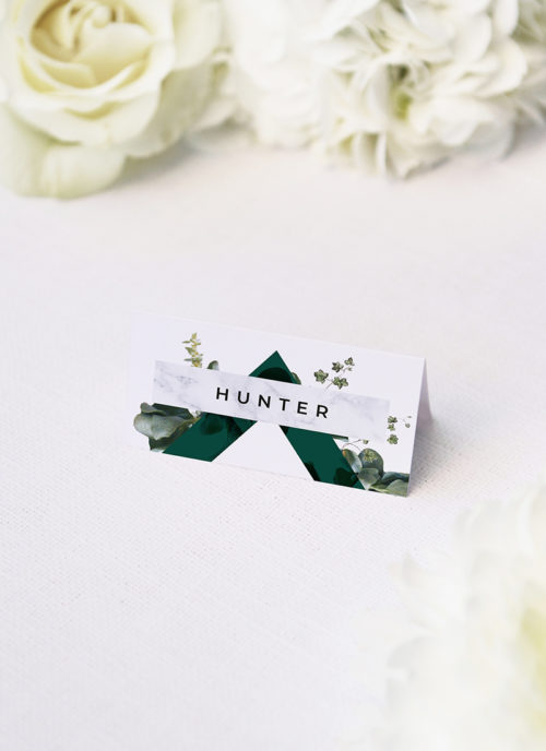 Deep Forest Green Botanical Clover Wedding Name Place Cards Deep Forest Green Botanical Clover Wedding Invitations