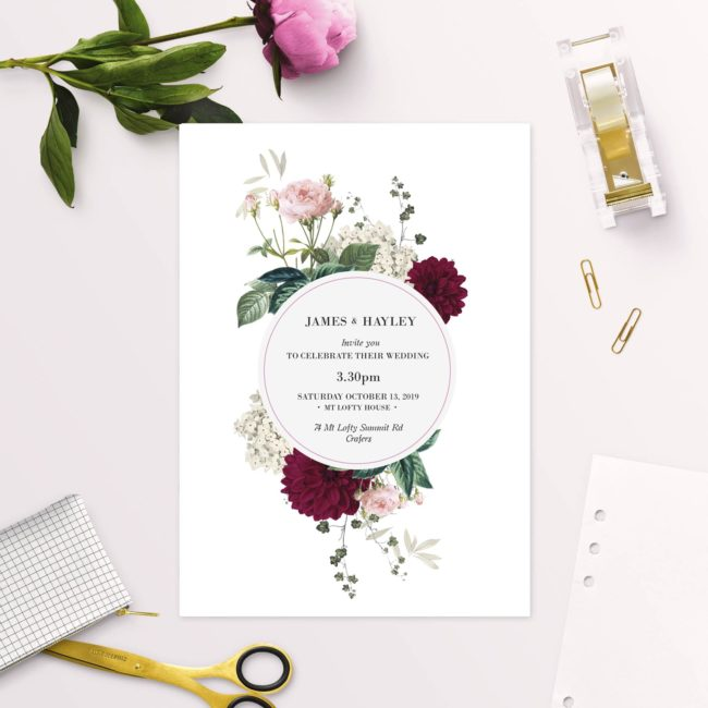 Floral Burgundy Wedding Invitations – Crimson Red Botanicals