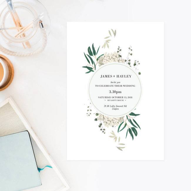 Classic Gum Tree Eucalyptus Leaves Native Wedding Invitations