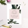 Modern Tropical Green Leaves Wedding Invitations with Blush Pink