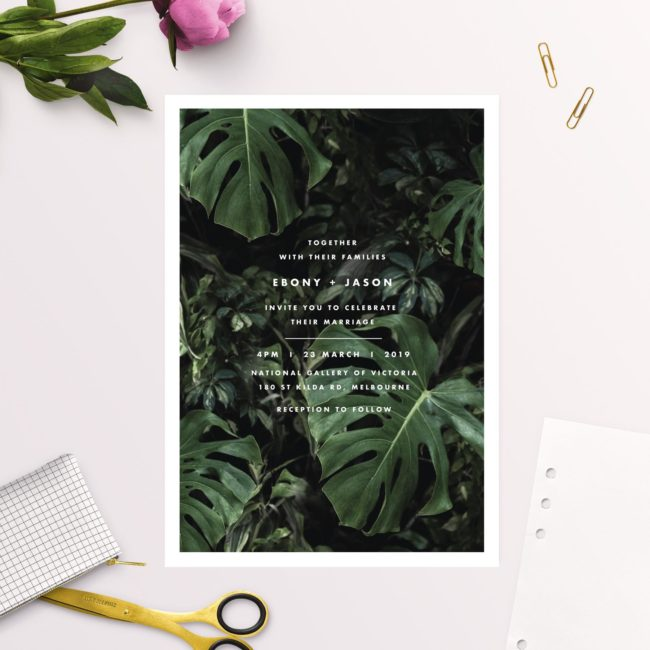 Modern Tropical Jungle Monstera Leaves Wedding Invitations