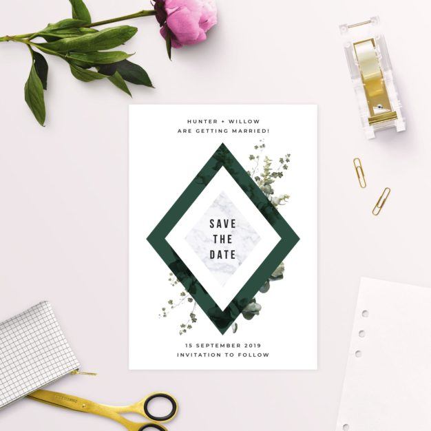 Deep Forest Green Botanical Clover Save the Dates