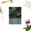 Modern Monstera Tropical Grey Blue Save the Dates