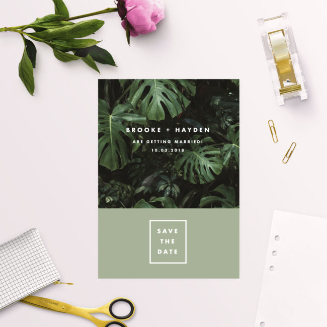 Modern Monstera Tropical Olive Green Save the Dates