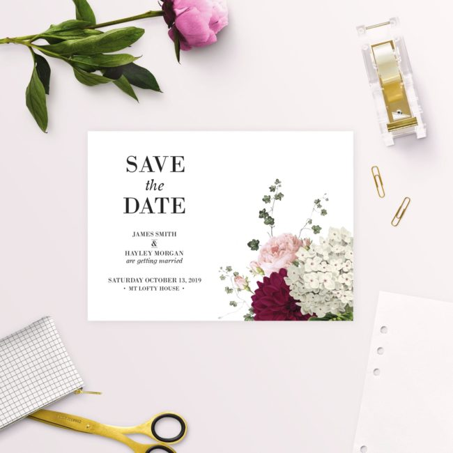 Crimson Red Floral Burgundy Save the Dates
