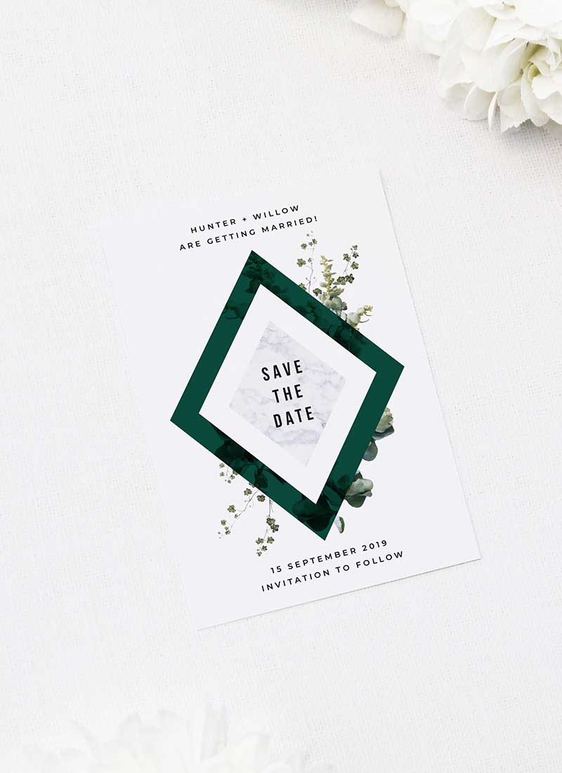 Deep Forest Green Botanical Clover Save the Dates Deep Forest Green Botanical Clover Wedding Invitations