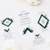 Deep Forest Green Botanical Clover Wedding Invitations