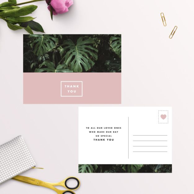 Modern Monstera Tropical Pink Wedding Thank You Postcards