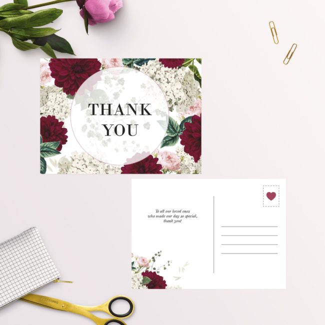 Crimson Red Floral Burgundy Wedding Thank You Postcards
