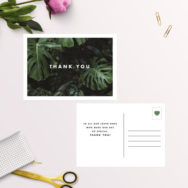 Modern Tropical Jungle Monstera Leaves Wedding Thank You Postcards