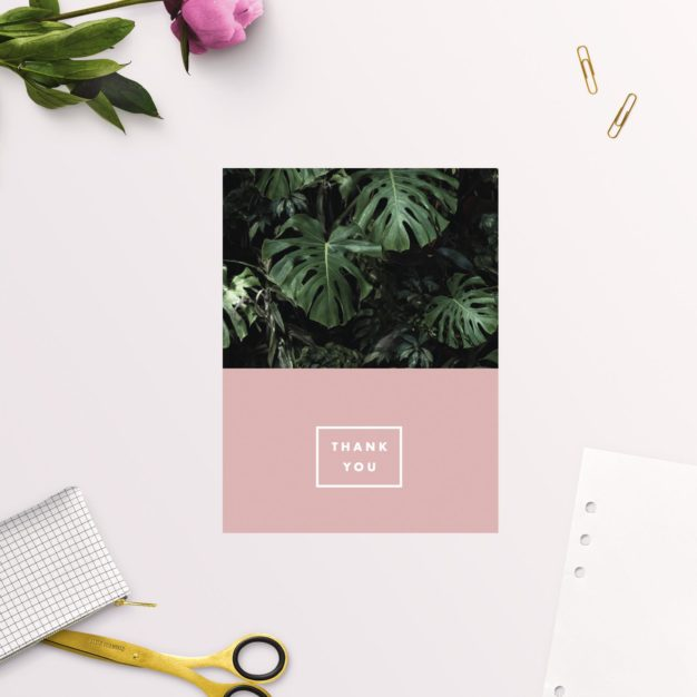 Modern Monstera Tropical Pink Wedding Thank You Cards