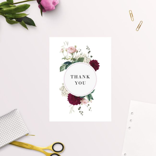 Crimson Red Floral Burgundy Wedding Thank You Cards