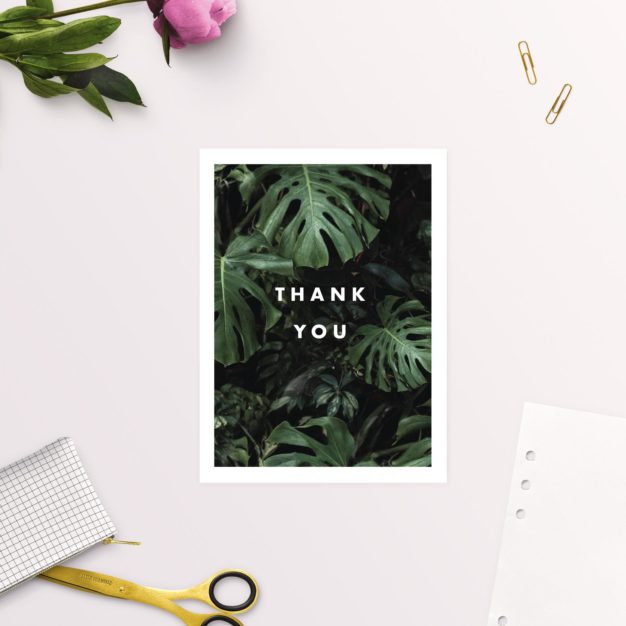 Modern Tropical Jungle Monstera Leaves Wedding Thank You Cards