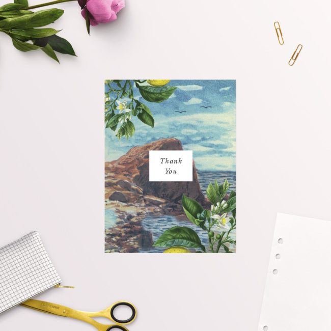 Amalfi Coast Island Wedding Thank You Cards