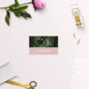 Modern Monstera Tropical Pink Wedding Name Place Cards Flat
