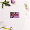 Burgundy Floral Bright Pink Wedding Name Place Cards Flat