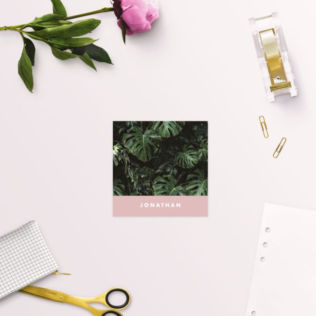 Modern Monstera Tropical Pink Wedding Name Place Cards Folded