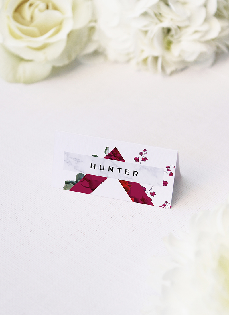 Burgundy Crimson Botanical Greenery Wedding Name Place Cards Burgundy Crimson Botanical Greenery Wedding Invitations