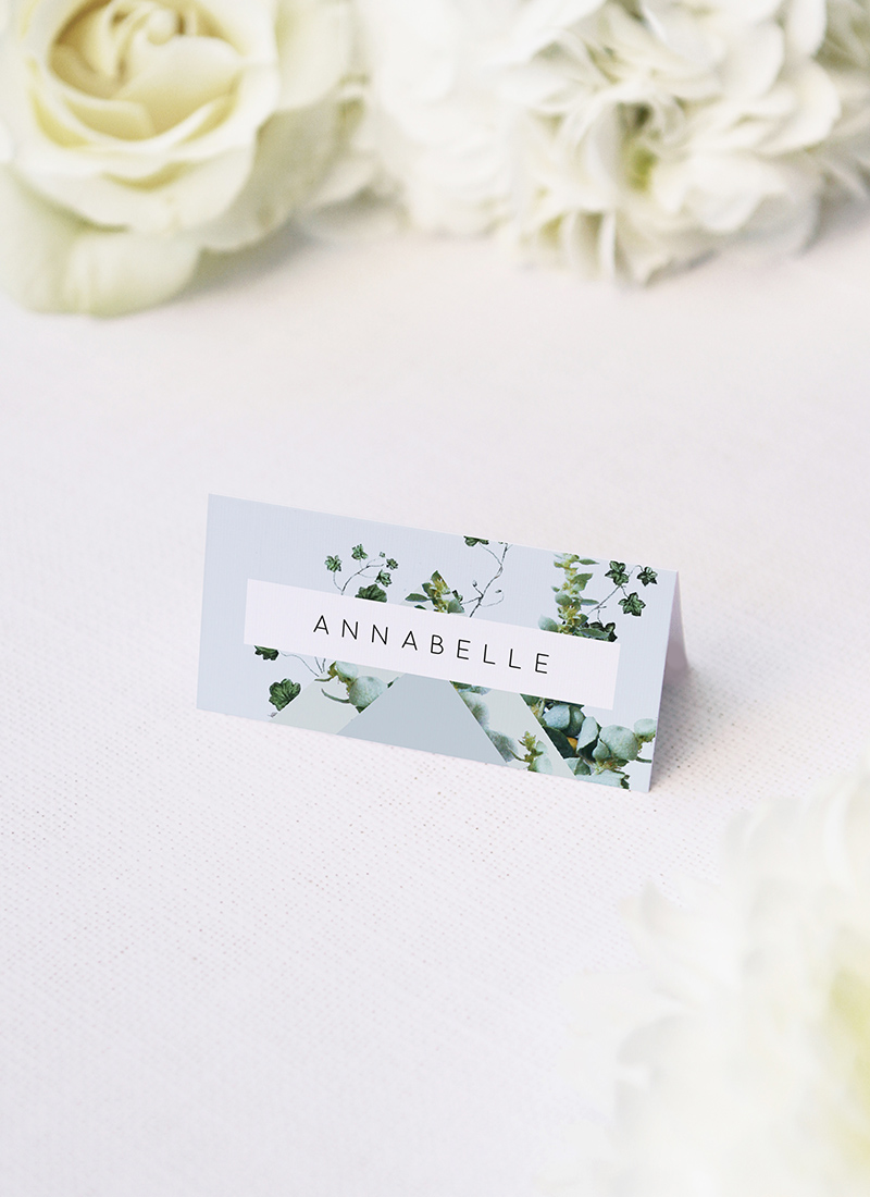 Romantic Blue Script Botanical Greenery Wedding Name Place Cards Romantic Cursive Script Botanical Greenery Wedding Invitations