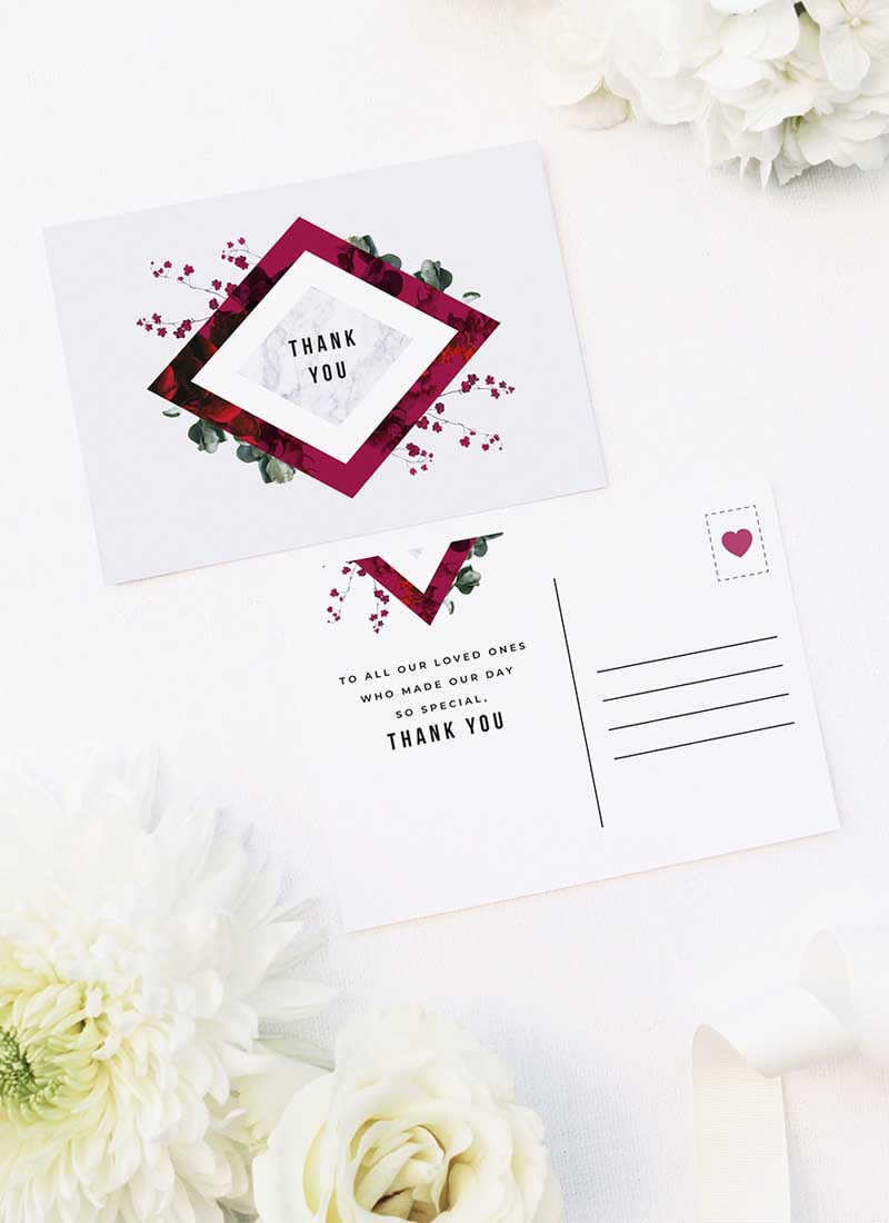 Burgundy Crimson Botanical Greenery Wedding Thank You Postcards Burgundy Crimson Botanical Greenery Wedding Invitations