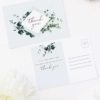 Romantic Blue Script Botanical Greenery Wedding Thank You Postcards Romantic Cursive Script Botanical Greenery Wedding Invitations
