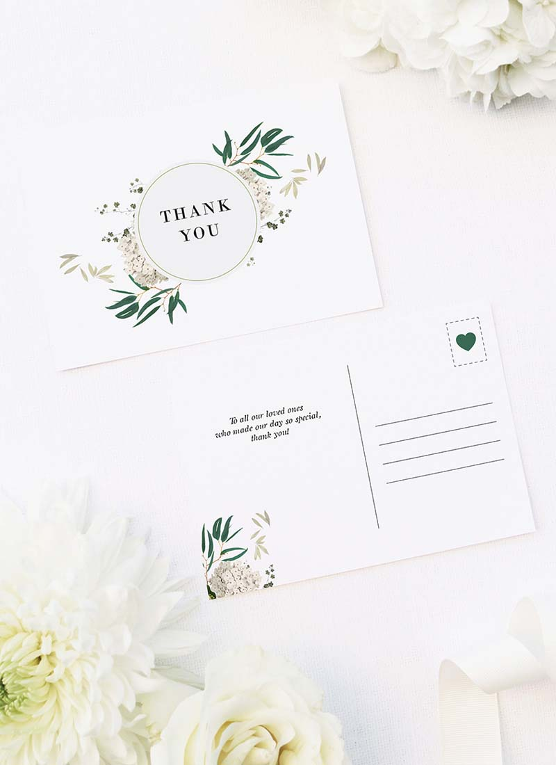 Classic Gum Tree Eucalyptus Leaves Native Wedding Thank You Postcards Classic Gum Tree Eucalyptus Leaves Native Wedding Invitations
