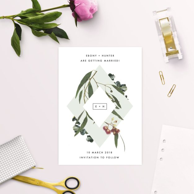 Eucalyptus Leaves Native Botanical Save the Dates