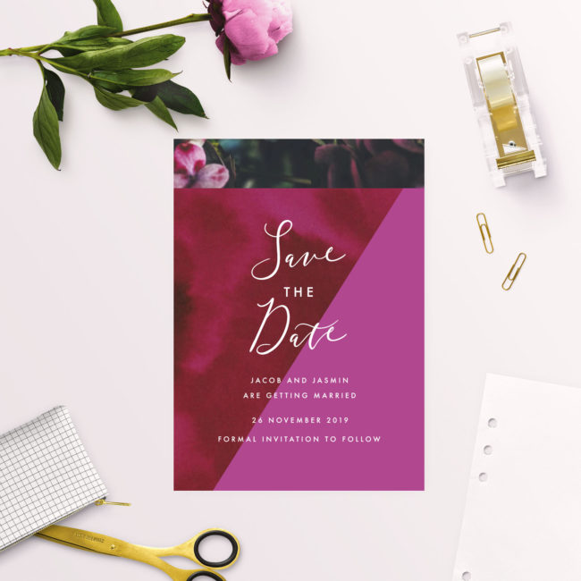 Burgundy Floral Bright Pink Geometric Save the Dates
