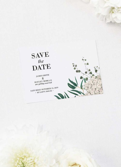 Classic Gum Tree Eucalyptus Leaves Native Save the Dates Classic Gum Tree Eucalyptus Leaves Native Wedding Invitations