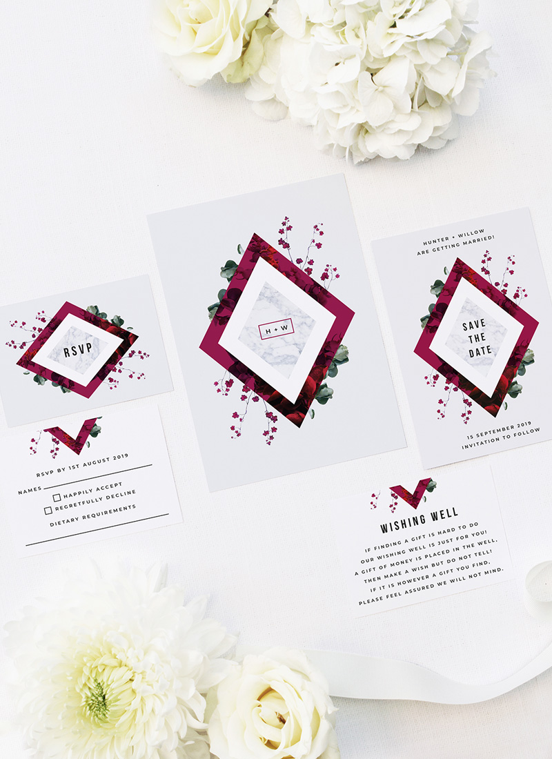 Burgundy Crimson Botanical Greenery Wedding Invitations