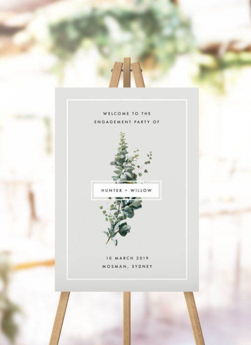 Elegant Grey Green Botanical Engagement Welcome Sign