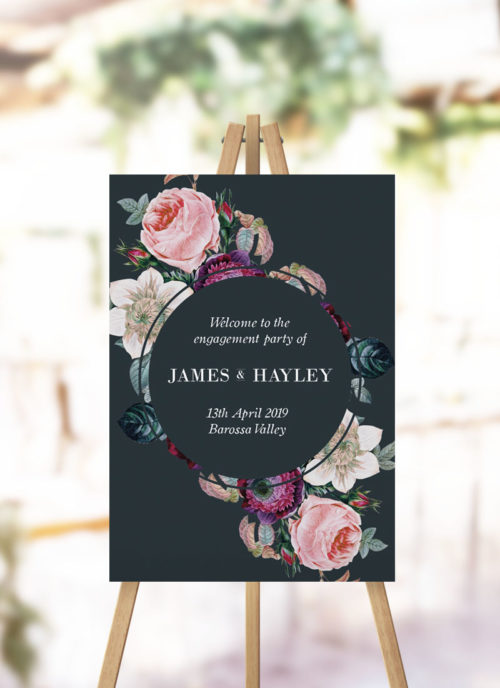 Dark Moody Floral Engagement Welcome Sign black grey rose roses floral engagement welcome sign
