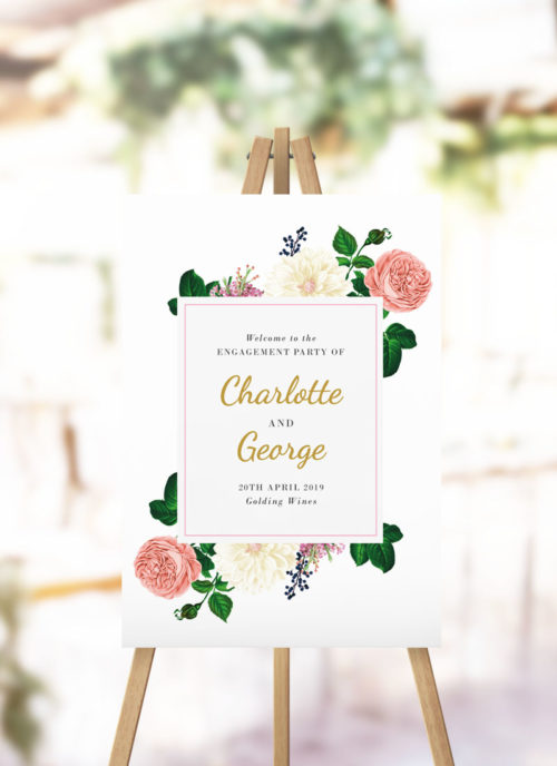 Blush Roses Elegant Engagement Welcome Sign Cream Pastel Pink Blush Floral Roses Engagement welcome sign