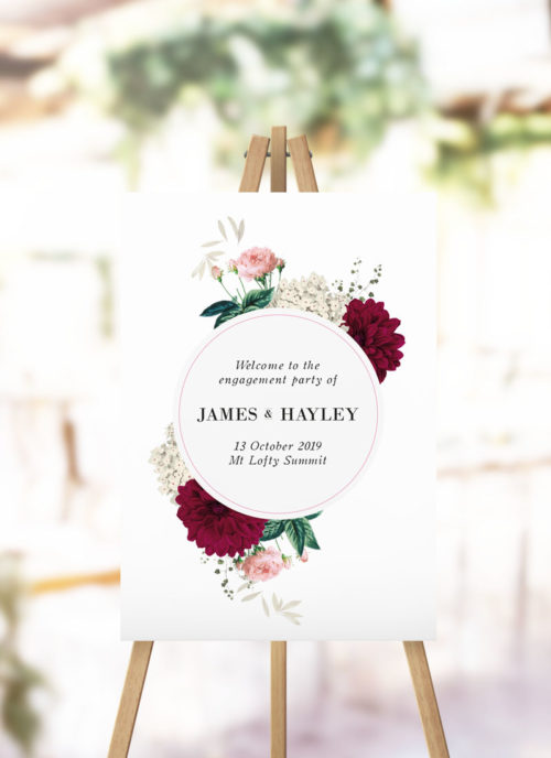 Floral Burgundy Engagement Welcome Sign