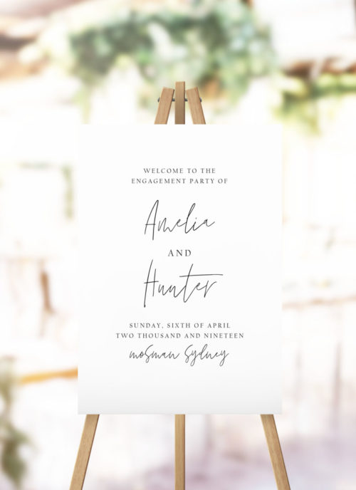 Simple Hand Script Engagement Welcome Sign