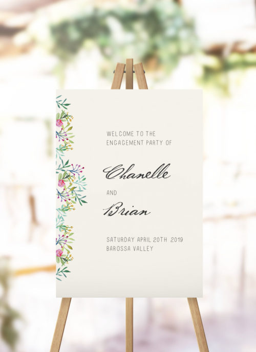 Forest Foliage Greenery Engagement Welcome Sign
