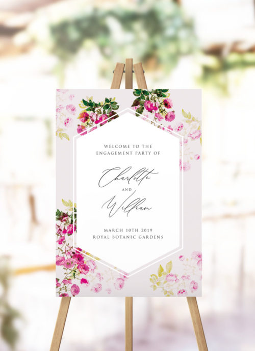 Pink Green Modern Botanical Engagement Welcome Sign