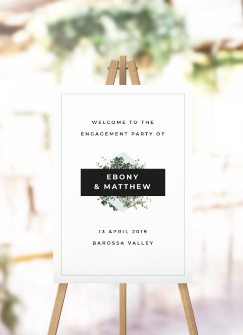 Modern Botanical Engagement Party Welcome Sign