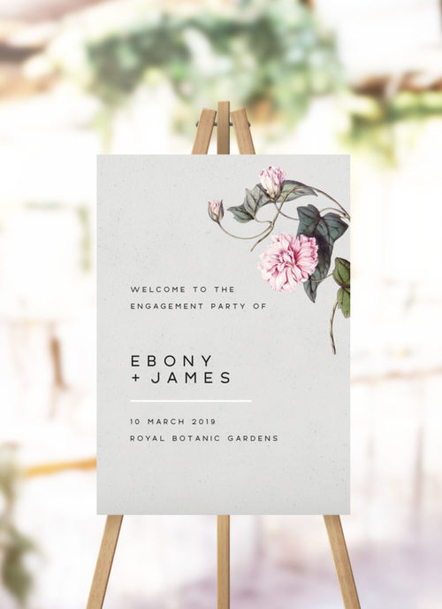 Grey Botanical Greenery Engagement Welcome Sign Modern Grey Vine Floral Greenery engagement part welcome sign