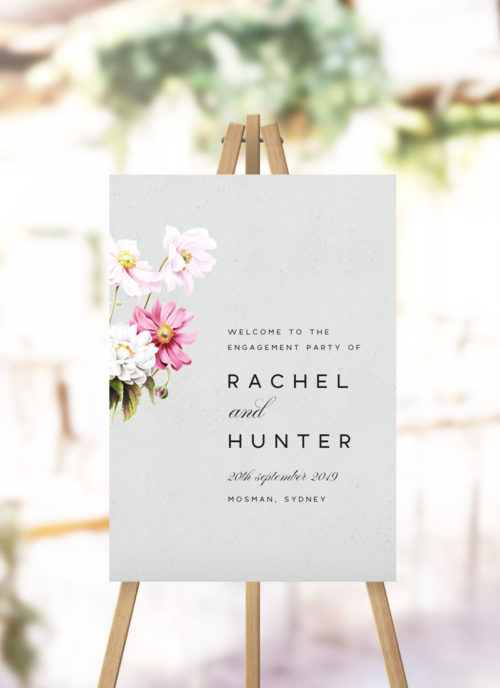 Elegant Grey Floral Engagement Party Welcome Sign