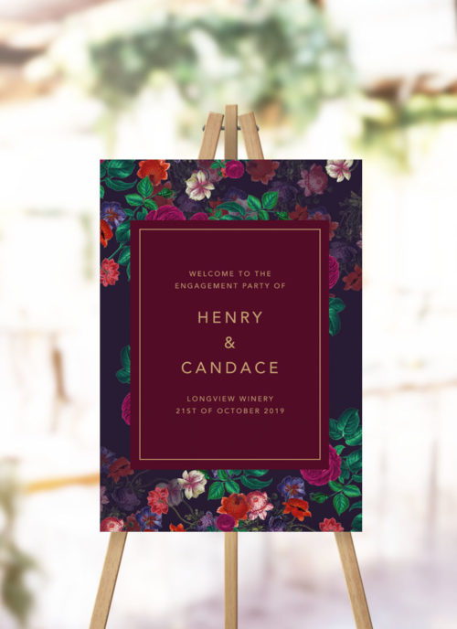 Burgundy Floral Engagement Party Welcome Sign