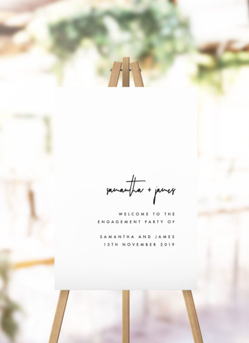 Modern Minimal Contemporary Simple Engagement Welcome Sign