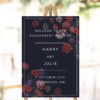 Moody Dark Floral Engagement Party Welcome Sign