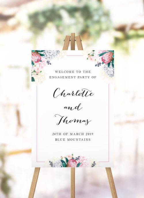 Pretty Protea Engagement Party Welcome Sign native floral protea engagement welcome sign
